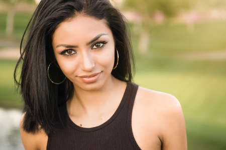 Casual natural style portrait of beautiful young woman