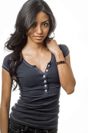 Attractive young woman isolated against white background.