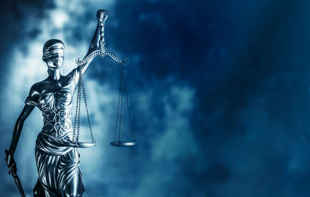 Legal law concept image Scales of Justice, blue tone.