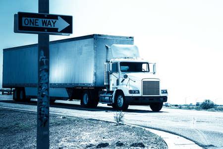 Heavy goods truck delivering goods