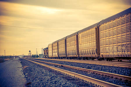 Cargo freight Train carrying supplies traveling through Arizona desert 免版税图像