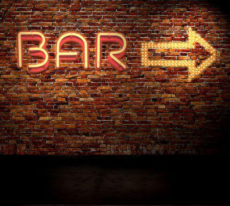 fond fluo: Signe de bar sur un mur de briques
