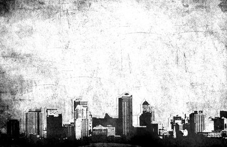 Grungy city background in black and white photo