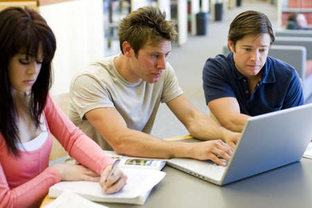 Group of students studying at the library Stock Photo - 4924014