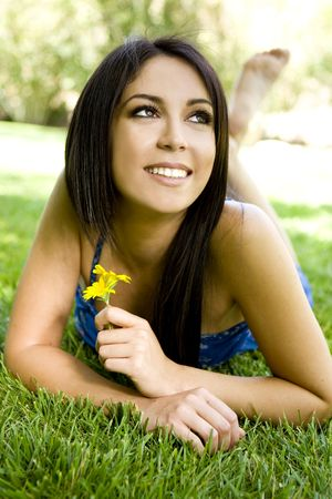 Portrait of a beautiful woman outdoors photo