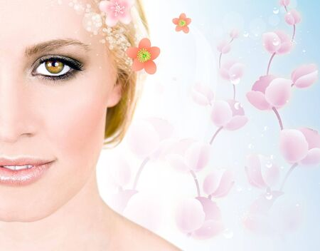 Montage van de achtergrond van een mooie vrouw en lente bloemen  Stockfoto