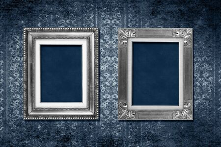 victorian wallpaper: Antique frames on blue grungy victorian wallpaper