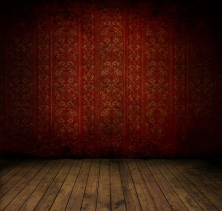 dirty room: Empty old grungey room with red vintage wallpaper Stock Photo