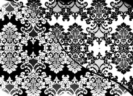 symbol fleur de lis: Delicate lacy Victorian pattern in black and white Stock Photo