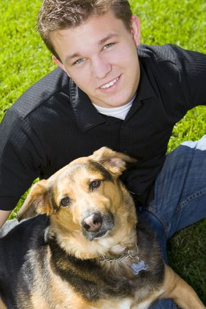 mans best friend: Young man and his dog - mans best friend