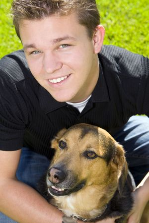 man's best friend: Young man and his dog - mans best friend