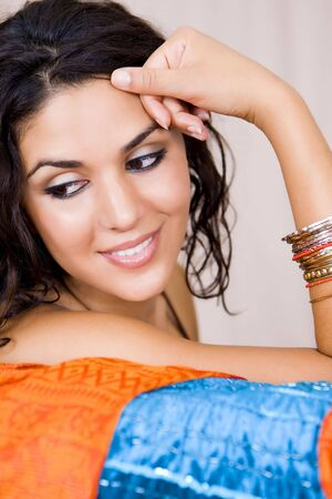 portrait of beautiful young exotic woman photo