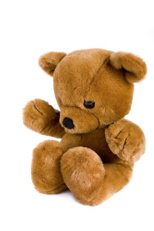 Big brown teddy bear isolated on white photo