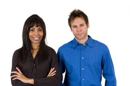 Friendly diverse team of business professionals