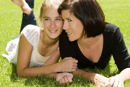 Mother and daughter outdoors on a Spring day Stock Photo