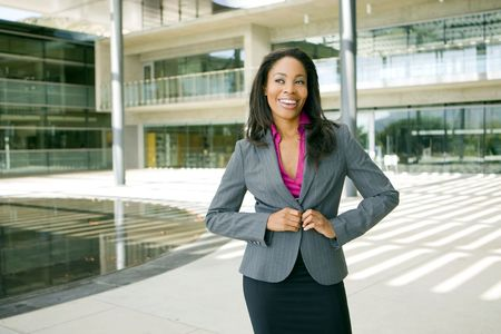 Attractive young business professionl outside her office