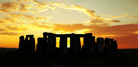 monolith: Stonehenge in England with a dramatic sunset