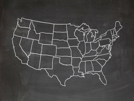 Map of the US drawn on a chalkboard Stockfoto