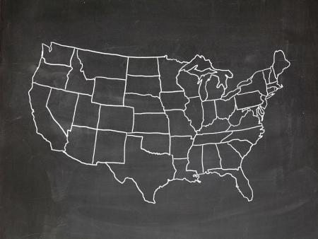 Karte der USA auf einer Tafel gezeichnet Lizenzfreie Bilder