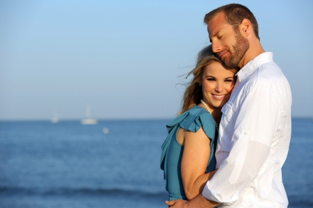 Attractive young loving couple outside Stock Photo