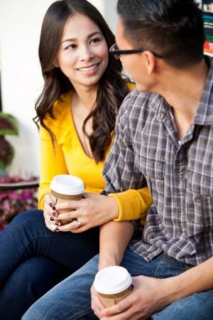 Young happy loving ethnic couple photo