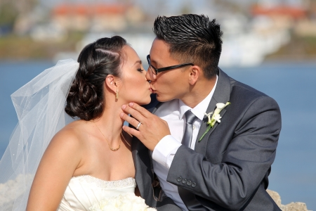 ethnic couple: Loving bride and groom at their wedding