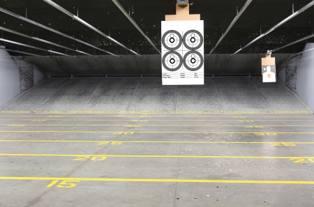 gun sight: Target rows at a shooting range