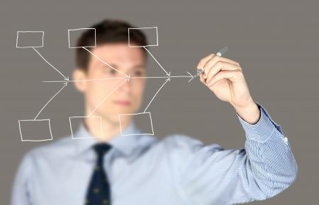 Man drawing a fishbone diagram chart photo