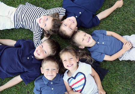 Group of children smiling and happy Stock Photo