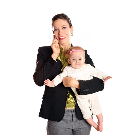 Business woman with her infant child photo
