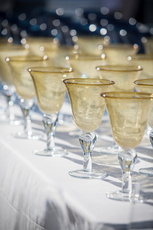 banket: Collection of beautiful hand blown wine goblets Stock Photo