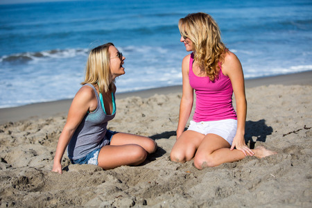 freetime activity: Two girlfriends enjoying a day at the beach