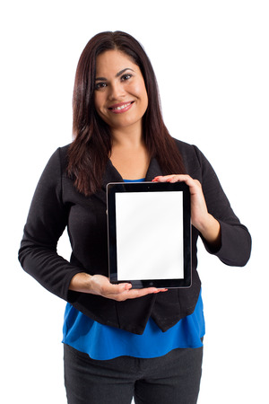 room for copy: Business woman holding up a blank table - room for copy Stock Photo