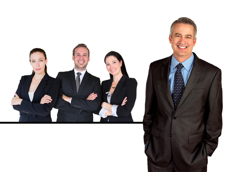 room for copy: Business man with team of people behind him with room for copy Stock Photo