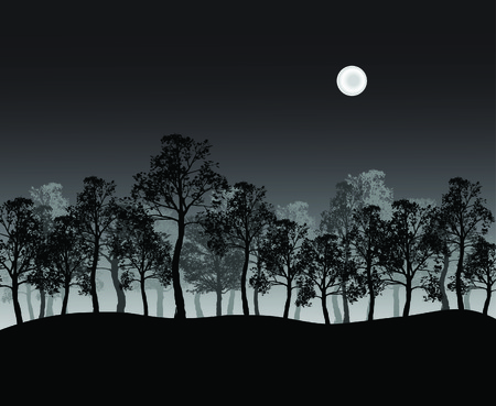 Group of trees on hill with moon at night