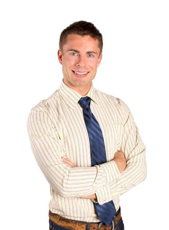 Casual attrayante jeune homme d'affaires isolé sur blanc