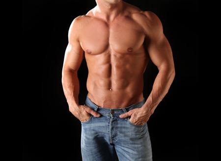 silueta hombre: Cuerpo masculino apto, musculoso y atlético Foto de archivo