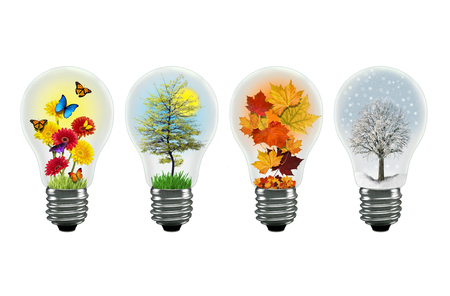 shown: All the seasons shown in a separate lightbulb Stock Photo