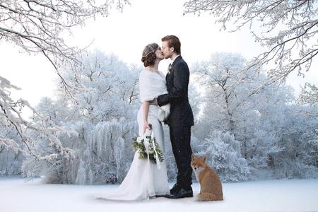 matrimonio feliz: Hermosa pareja de novios en su boda de invierno Foto de archivo