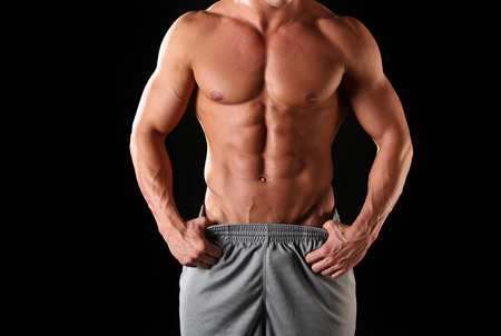nipple man: Fit, muscular and athletic male body