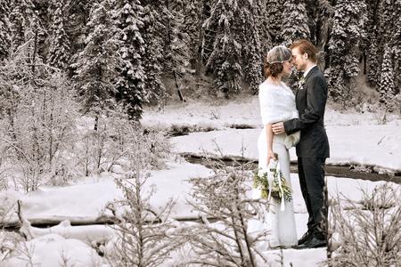 Beautiful wedding couple on their winter wedding photo