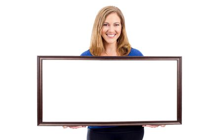 room for copy: Woman holding empty white framed sisn - room for copy