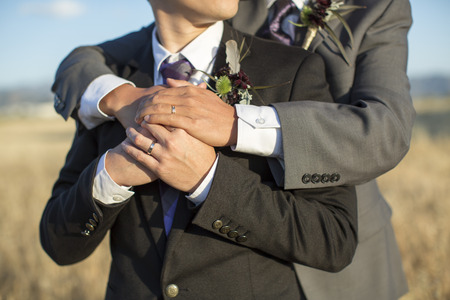 Gay couple on their wedding day 스톡 콘텐츠