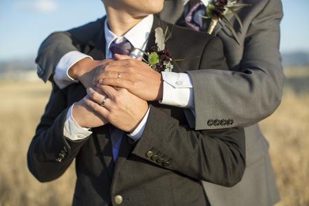Gay couple on their wedding day Stockfoto