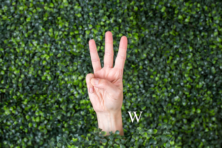Sign Language Letter w made with hand against green plant background