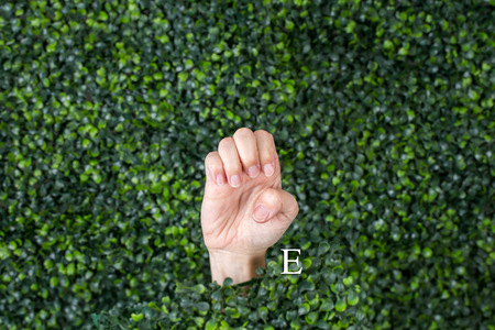 Sign Language Letter E made with hand against green plant background