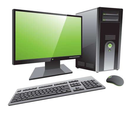 Desktop computer workstation vector