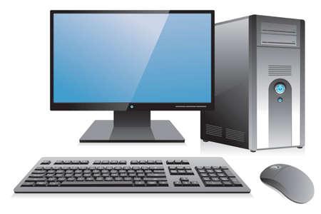 ordinateur bureau: Poste de travail informatique de bureau