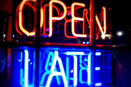 Open late neon window sign Stock Photo