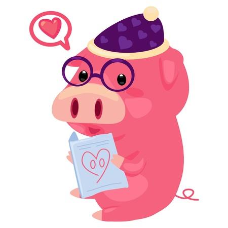 pig reading  Vector